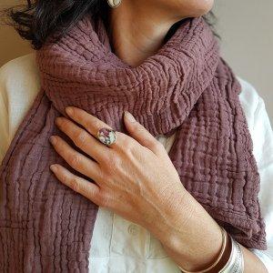 Sa-nuk mousseline katoenen kleine sjaal textiel roze