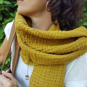 Sa-nuk mousseline katoenen kleine sjaal textiel mosterd geel