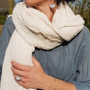 Sa-nuk mousseline katoenen grote sjaal textiel creme