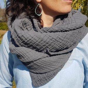 Sa-nuk mousseline katoenen grote sjaal textiel donker grijs