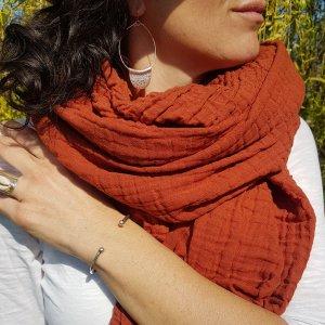 Sa-nuk mousseline katoenen grote sjaal textiel terracotta oranje