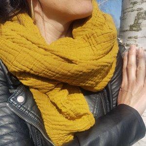 Sa-nuk mousseline katoenen grote sjaal textiel mosterd geel