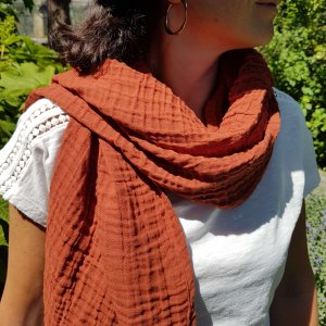 Sa-nuk mousseline katoenen kleine sjaal textiel terra rood