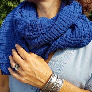 Sa-nuk mousseline katoenen kleine sjaal textiel blauw