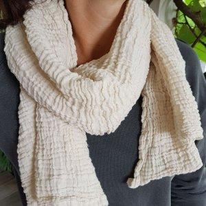 Sa-nuk mousseline katoenen kleine sjaal textiel creme wit