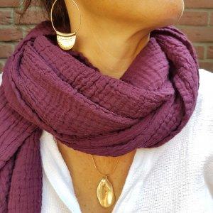 Sa-nuk mousseline katoenen kleine sjaal textiel paars