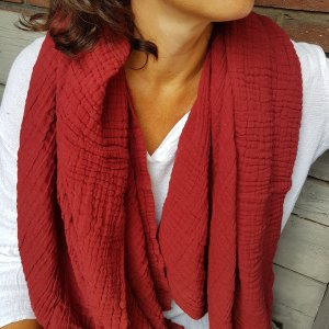 Sa-nuk mousseline katoenen grote sjaal textiel bordeaux rood