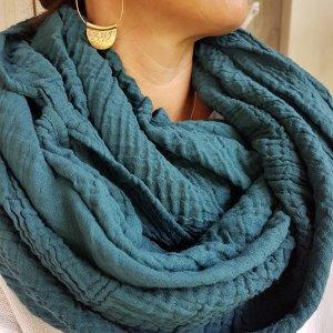 Sa-nuk mousseline katoenen grote sjaal textiel petrol blauw