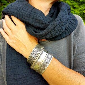 Sa-nuk mousseline katoenen kleine sjaal textiel zwart